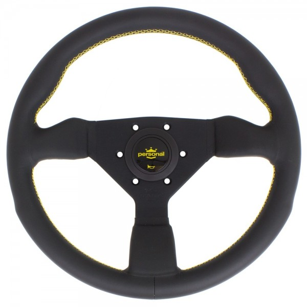 Nardi Personal Grinta Leather Black Spokes Yellow Stitching 330mm