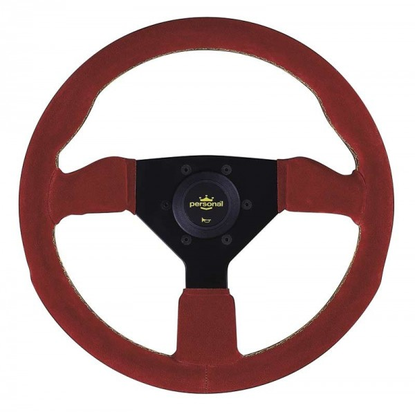 Nardi Personal Grinta Red Suede Black Spokes Yellow Stitching 330mm
