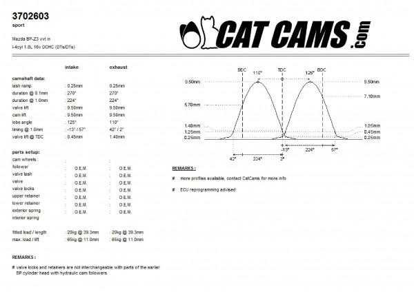 Camshafts NBFL 1.8 VVT naturally aspirated Stage 1