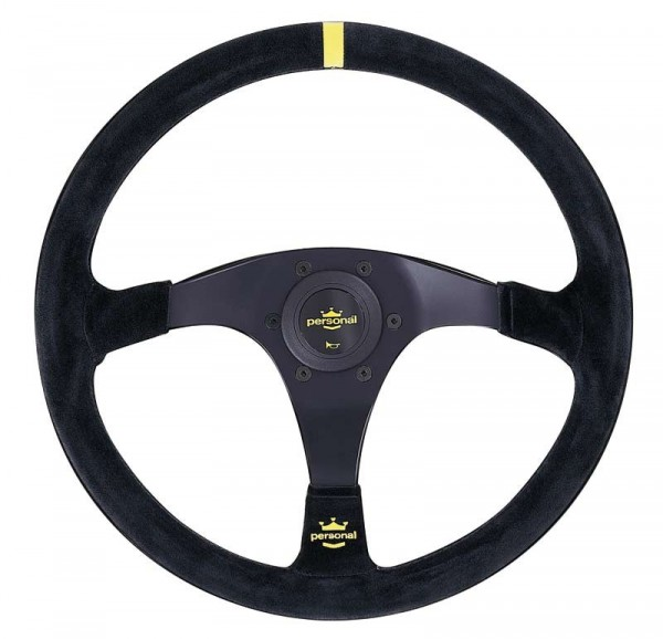 Nardi Personal Trophy Suede Black Spokes Yellow Stitching 350mm