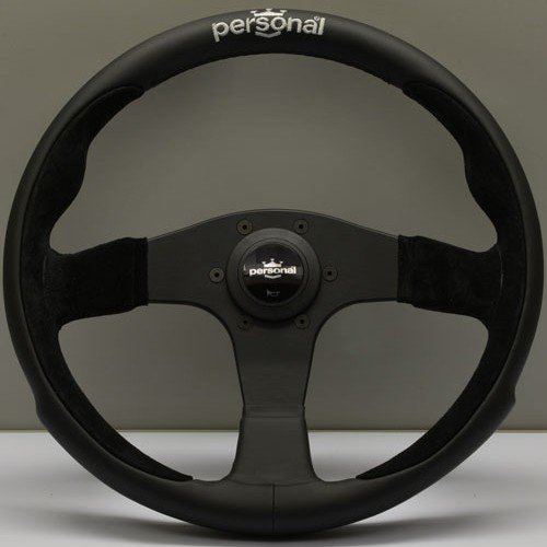 Nardi Personal Pole Position Leather/Suede Black Spokes 350mm