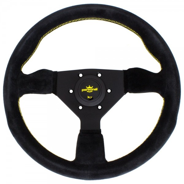 Nardi Personal Grinta Suede black spokes Yellow Stitching 330mm