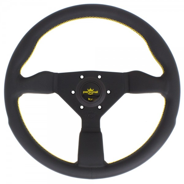 Nardi Personal Grinta Leather Black Spokes Yellow Stitching 350mm