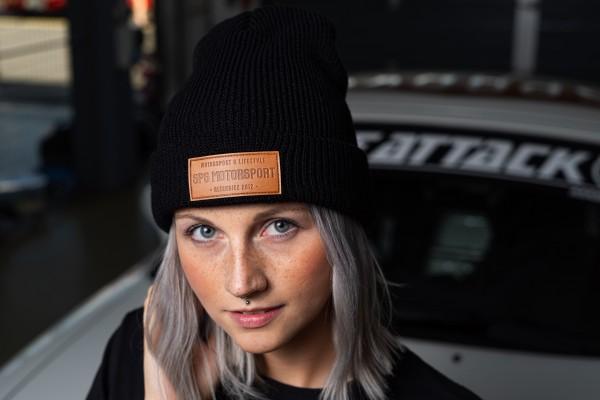 Wintermütze schwarz mit Kunstleder Patch SPS Motorsport